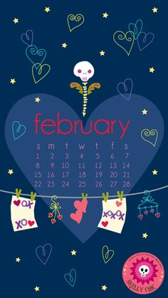 Warm your heart (and desktop/smartphone) with my (free!) Skelly Chic February wallpaper! www.skellychic.com  Enjoy!