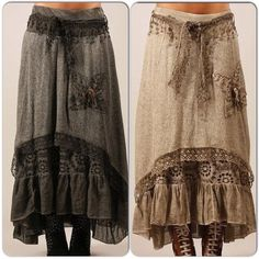 Lacy skirt with ruffle underneath a linen layer with high-low hem