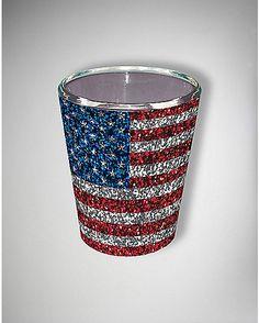 Glitter American Flag Shot Glass - Spencer's