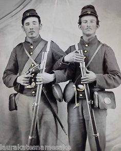 8 by 10 Civil War Photo Print of 2 Union Soldiers Bayoneted Muskets Canteens | eBay