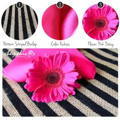 Burlap Wedding Palette -- black velvet strips on burlap with hot pink and daisies. Lovely! --Chey Chic Weddings