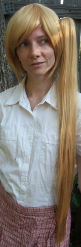 I think this wig with two ponytails would work perfectly for Fem!England from Hetalia