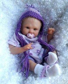 "OOAK hand SCULPTED newborn BABY girl clay ART doll *SOPHIA* Dawn McLeod 6.25"""
