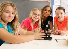 4 elementary girls with a microscope studying science in girlsteam program. Elementary Science, Teaching Science, Elementary Education, Preschool Pictures, What Is Stem, Steam Education, Math Place Value, School Choice, Behavior Interventions