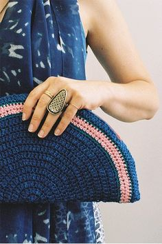 Attention to detail..a French manicure, cool clutch and gorgeous ring say it all!  (Dress and clutch by Ermie, ring by Dream Collective) via Refinery 29  #r29summeressentials