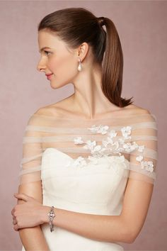 Perfect for a spring bride! BHLDN London Bridal Wrap by Jenny Yoo