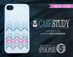 """iPhone 4 or iPhone 5 Case - """"The Gathering"""" - Pink, blue, gray chevron pattern on glossy white background."""