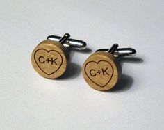 Carved Initials in Heart, Wood Cuff Links, Custom, Laser Cut, Grooms gift, for him