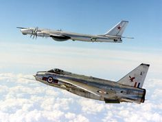 """RAF English Electric Lightning and Russian Tupolev TU-95 """"Bear"""". This happened during an era of British aerial dominance (with the US) in terms of it's air industry. English Electric were just one company operating at the time."""