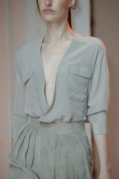 Light grey, elegant leather pant , Porsche Design at New York Fashion Week Spring 2015...I want it all !