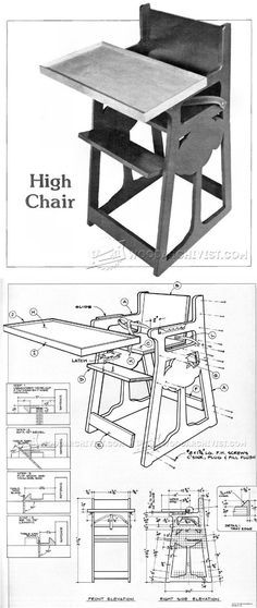 DIY High Chair - Children's Furniture Plans and Projects | http://WoodArchivist.com