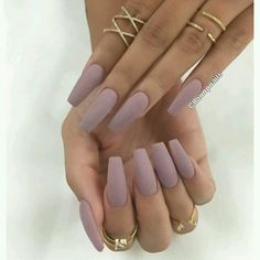 Matte Lavender Coffin Shape Acrylic Nails