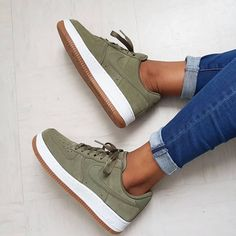 """Nike Air Force 1 """"Olive Gum"""" the colorway looks really bomb Link in organic pa . Crazy Shoes, Me Too Shoes, Nike Vans, Hype Shoes, Sneakers Mode, Ladies Sneakers, Green Sneakers, Fresh Shoes, Trendy Shoes"""