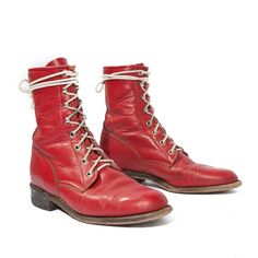 Vintage Red Justin Lace Up Roper Boots for a by RabbitHouseVintage
