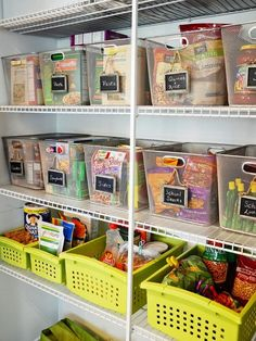 See through and pull out baskets make for easy pantry organization