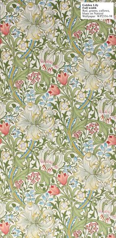William Morris Golden Lily Full Width Red, Greens, yellows, blues on Natural William Morris Wallpaper, William Morris Art, Morris Wallpapers, William Morris Patterns, Arts And Crafts House, Easy Arts And Crafts, Fabric Wallpaper, Of Wallpaper, Designer Wallpaper