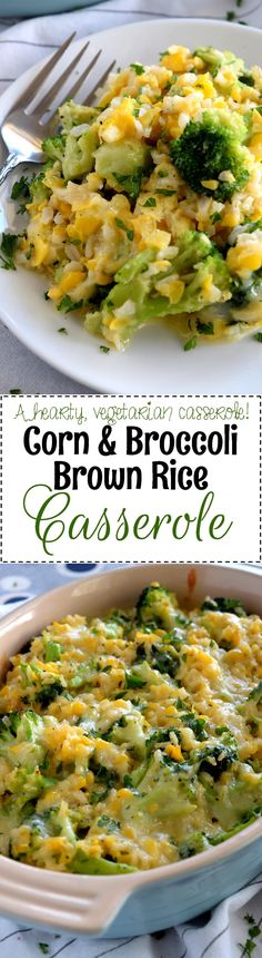 Corn and Broccoli Brown Rice Casserole - A creamy, sweet, vegetable-filled casserole with the wholesome goodness of brown rice, broccoli, and corn – perfect as a main dish or a side.  Easy to prepare in very little time, but with impressive results!