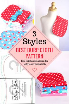 Free printable pattern for 3 styles of burp cloth