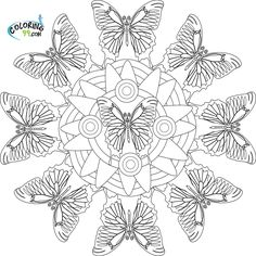Abstract Coloring Pages | butterfly mandala coloring pages