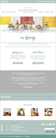 Home page for Plank & Pearl Boutique Vintage Rentals, Denver, CO a vintage rental company styling weddings + events. Website design by LBC Design Co.