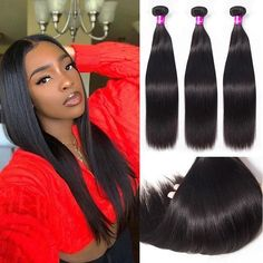 She is pretty😍😍 Get your Straight Hair 3 Bundles now available🔥 Link in the bio💕💗 Weave Hairstyles, Straight Hairstyles, Cool Hairstyles, Buy Hair Extensions, Best Virgin Hair, Mo Hair, Virgin Hair Bundles, Hair Weft, Remy Human Hair