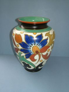 1950s Gouda Royal Pottery Zuid Holland Flower Vase Made in Holland
