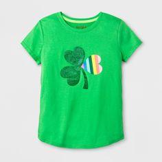 Girls' Short Sleeve St. Patrick's Day Multi Shamrock Graphic T-Shirt - Cat & Jack Green XL
