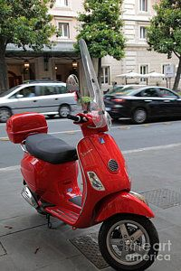 Photograph - Red Vespa by Inge Johnsson
