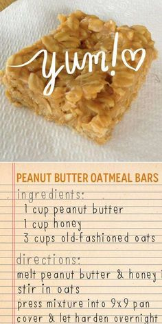 Peanut butter oatmeal bars - 3 ingredients Peanut butter, oats and honey bars KeepRecipes Your Universal Recipe Box Oats Recipes, Snack Recipes, Dessert Recipes, Cooking Recipes, Recipies, Peanut Recipes, Honey Recipes, Party Desserts, Cheerios Recipes