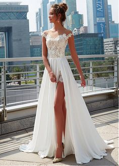 Charming Lace & Satin Chiffon  Sheer Jewel Neckline A-Line Wedding Dress With Lace Appliques & Slit