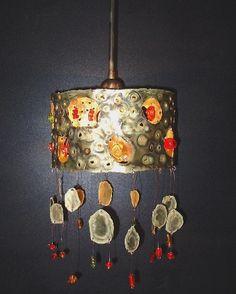 Handmade pendant lamp, bronze with handmade glass beads. Handmade Lamps, Handmade Gifts, Pendant Lamp, Wind Chimes, Glass Beads, Bronze, Skylights, Ceiling Lights, Unique Jewelry