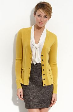 Mustard sweater and tweed skirt