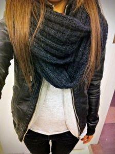#fall #fashion / black knit scarf
