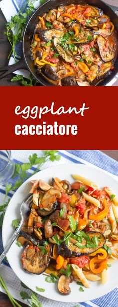 This vegan eggplant cacciatore is made with melt-in-your mouth slabs of roasted eggplant simmered in a light white wine tomato sauce with savory mushrooms, garlic and bell peppers. Thanks to Connaisseurus Veg Vegetable Dishes, Vegetable Recipes, Vegetarian Recipes, Cooking Recipes, Healthy Recipes, Vegan Eggplant Recipes, Stuffed Aubergine Recipes, Roasted Eggplant Recipe, Healthy Food