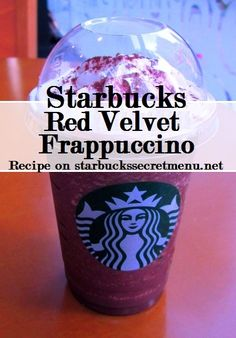 Starbucks Secret Menu Red Velvet Frappuccino, recipe here… Starbucks Secret Menu Drinks, My Starbucks, Frappuccino Recipe, Starbucks Frappuccino, Yummy Drinks, Fun Drinks, Beverages, Hot Chocolate, Raspberry Chocolate
