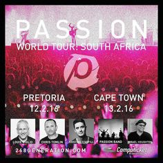 Just one month until we are back in South Africa! Two nights of worship and teaching with @louiegiglio @christomlin @kpstanfill & @ihoughton as we gather the Church and lift up the name of Jesus in Pretoria & Cape Town! Passion Pretoria Loftus Versfeld 12