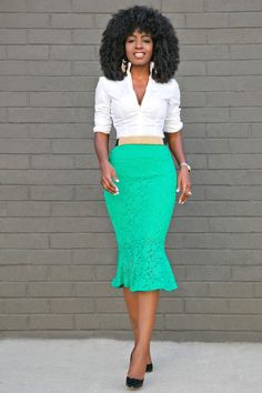 Style Pantry | Button Down Shirt + Lace Frill Midi Skirt