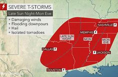 Severe storms bring risk for tornadoes, flooding to southern US on Monday