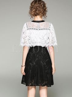 Shop for high quality Sexy Lace Splicing Hollow-out Batwing Sleeve Slim Skater Dress online at cheap prices and discover fashion at Ezpopsy.com