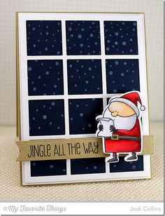 Jingle All the Way stamp set and Die-namics, Snowfall Background, Fishtail Flags Layers STAX Die-namics, Square Grid Cover-Up Die-namics - Jodi Collins #mftstamps