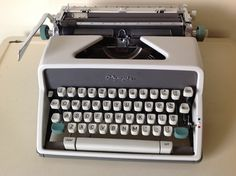 Vintage Olympia DeLuxe Cursive Typewriter, Manual Typewriter made in West Germany,Rare Olympia Cursive Typewriter with Case,Retro Office by TresconyAntiques on Etsy Retro Typewriter, Retro Office, Fall Back, Vintage Typewriters, Vintage Wear, Cursive, Olympia, Robin, Manual