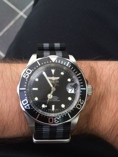 My first Diver.  Invicta 8926, swapped out the bracelet for a NATO strap.