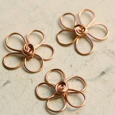 3 Wirework Flowers Solid Copper - Small 5 petals - Handmade Connector, Charm, Pendant, Findings