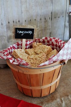 """hay stacks"" Rice Krispy treats for barn yard party"