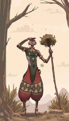 The theme for this month was African Tribe, so I drew a african vagabond whose body merged with a spirit mask seeking water for his village. Fantasy Character Design, Character Drawing, Character Concept, African Tribes, African Art, Fantasy Inspiration, Character Inspiration, Black Girl Art, Black Art