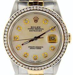 Rolex Stainless 2Tone 18k Gold/Steel Datejust w/Diamond Dial & 1.5ct Bezel…