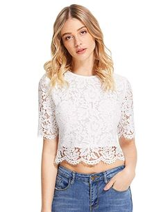 cce9d396011faf MakeMeChic Women's Short Sleeve Sexy Sheer Blouse Mesh Lace Crop Top  #schooloutfitscomfy #simpleschooloutfits #