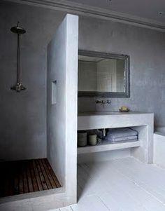 Polished concrete shower and bathroom vanity Laundry In Bathroom, White Bathroom, Bathroom Interior, Modern Bathroom, Small Bathroom, Bathroom Ideas, Bathrooms Decor, Design Bathroom, Bathroom Shelves