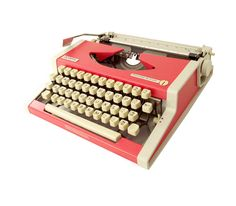Vintage Typewriter Olympia Coral and Cream by BearAndRobot on Etsy, $170.00