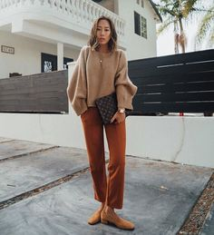 c3278c78121 Boxy Camel Sweater and Camel Suede Pumps Boxy Camel Sweater+brick red  pants+and mustard Suede Pumps+Louis Vuitton clutch+necklace.